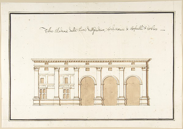 Fascinating Historical Picture of Pietro Paolo Coccetti with Garden Elevation of the Villa Madama Rome in 1710