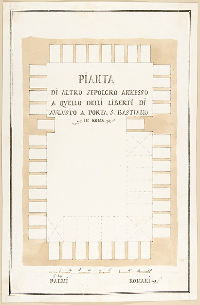 Fascinating Historical Picture of Pietro Paolo Coccetti with Plan of a Tomb Rome in 1710