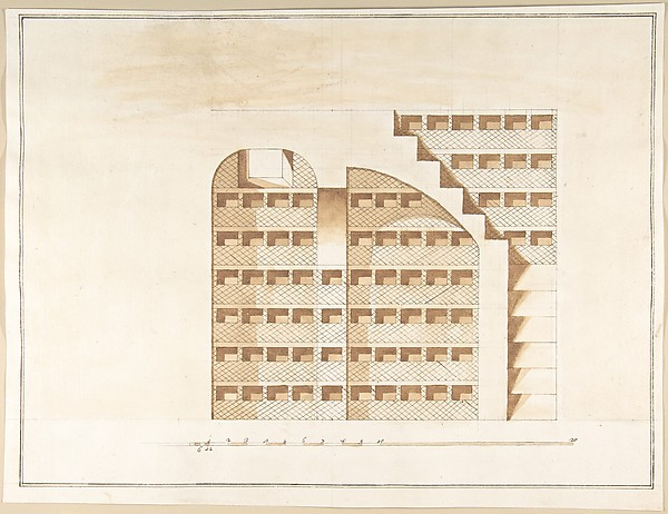 Fascinating Historical Picture of Pietro Paolo Coccetti with Section of a Columbarium in 1710