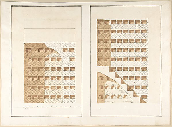 Fascinating Historical Picture of Pietro Paolo Coccetti with Two Sections of a Columbarium in 1710