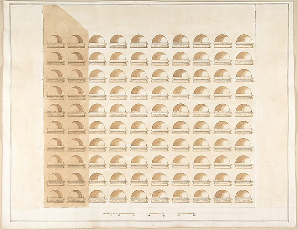 Fascinating Historical Picture of Pietro Paolo Coccetti with Elevation of a Columbarium in 1710