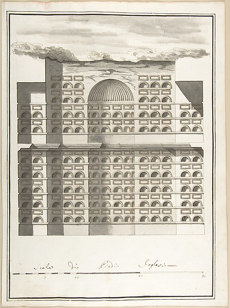 Fascinating Historical Picture of Pietro Paolo Coccetti with Elevation of the Interior of a Columbarium in 1710