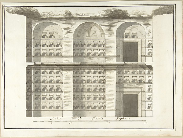 Fascinating Historical Picture of Pietro Paolo Coccetti with Section (Interior Elevation) of a Columbarium in 1710