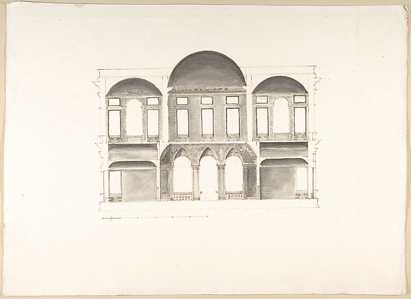 Fascinating Historical Picture of Pietro Paolo Coccetti with Section of a Palace (Probably of the Building in Accession Numbers 60.632.62 and 60.632.64) in 1710