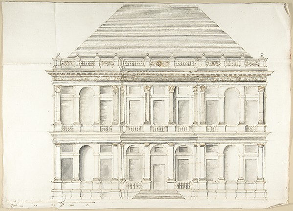 Fascinating Historical Picture of Pietro Paolo Coccetti with Two-Story Facade of a Palace with a Mansard Roof in 1710