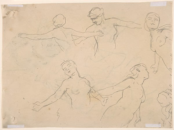 Self-Portrait in Clown Costume; Verso: Sketches of the Torsos of Five Nude Women with their Arms Extended