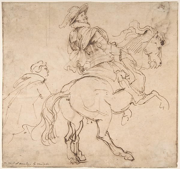 Recto: study for an Equestrian Portrait, possibly Albert de Ligne, Count of Arenberg; Verso: Various studies of Statues and Figures, including the Venus Pudica and Scipio and his Lictor.