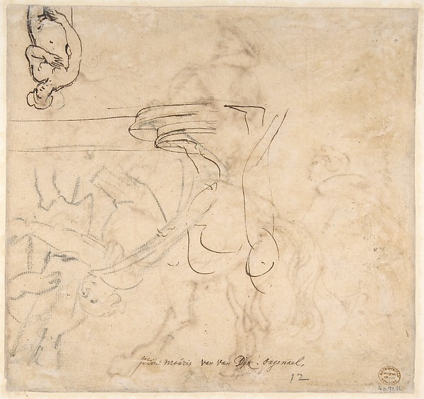 Study for an Equestrian Portrait, Possibly that of Albert de Ligne, Count of Arenberg; verso: Various Studies of Statues and Figures, Including the Venus Pudica and Scipio and his Lictor