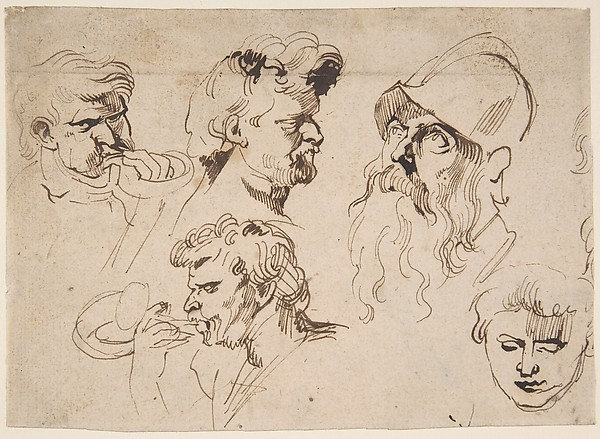 Fascinating Historical Picture of Anthony van Dyck with Sheet of Studies of Heads in 1615