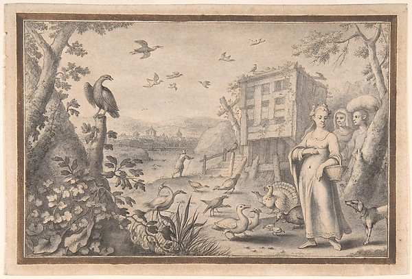 Landscape with Three Figures and Birds