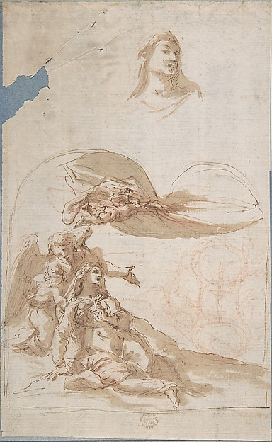 Saint in Ecstasy; Study of Saint's Head (recto); Sketches of Putti (verso)