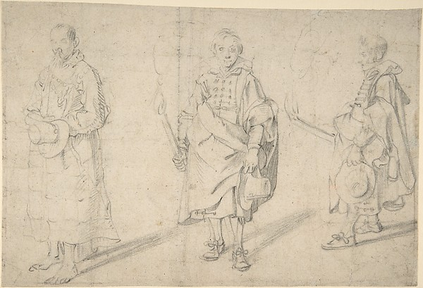 Study of Figures: an Old Man Holding a Hat and Facing Forwards, and a Young Man Holding a Torch and a Hat, seen from both the Front and Left Sides; Verso: Study of a Head