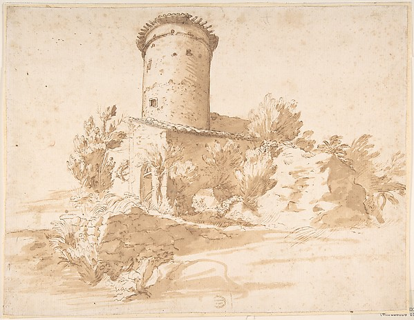 Landscape with Cylindrical Tower Anonymous, Italian, Roman-Bolognese, 17th century