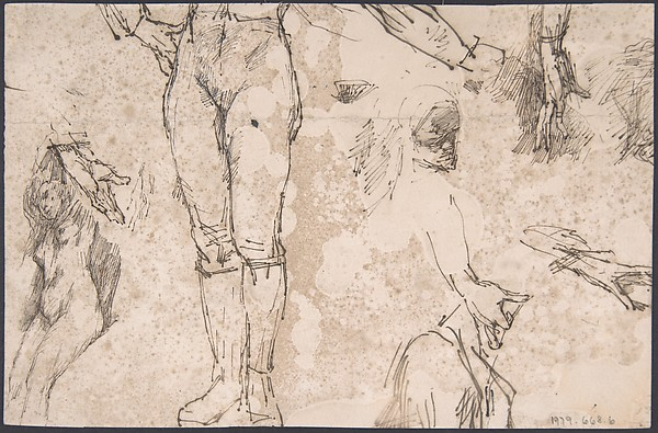 Studies of Female Nude, Hands, and Male Torso (recto); Landscape (verso)