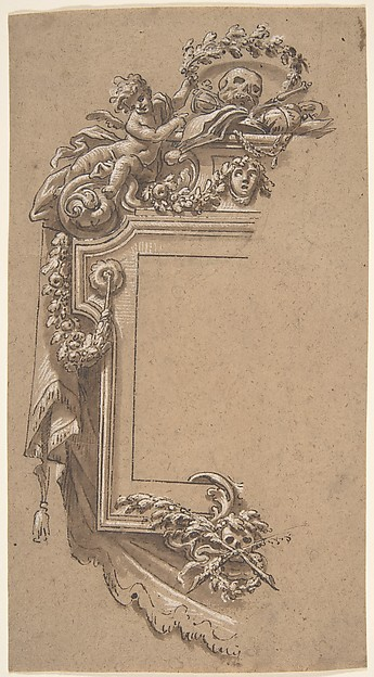 Ornamental Design with Putto and Skulls