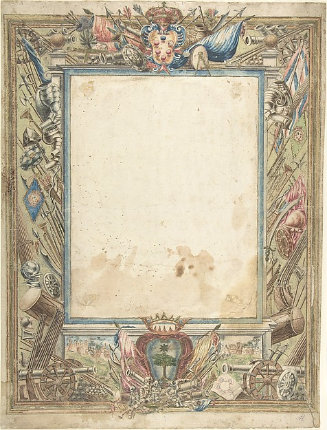 Design for a Frame with Armorial Trophies, the Medici Coat of Arms and a Second Coat of Arms, possibly of the Alberighi Family (?)