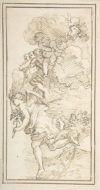 Archangel Holding a Lily in a Landscape with Clouds Bearing Putti (Fragment of a Scene of the Annunciation)