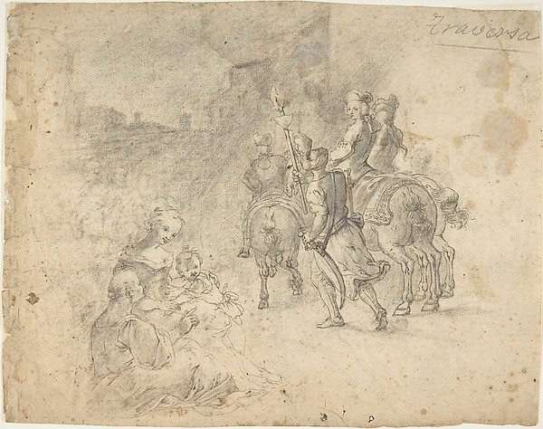 Military Cavaliers Entering Town Accompanied by a Turbaned Torch-bearer. In the foreground: Two Seated Women and a Child (recto); Several Cooks, and Two Pages with a Platter in a Kitchen Yard (verso)