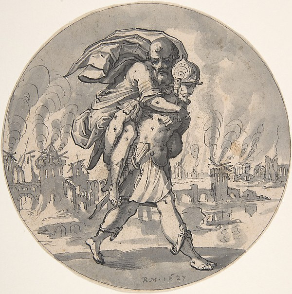 Aeneas Rescues his Father from Burning Troy
