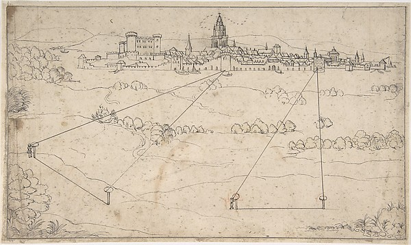 Fascinating Historical Picture of Elder with Perspectival Study with a View of a Medieval City in 1600