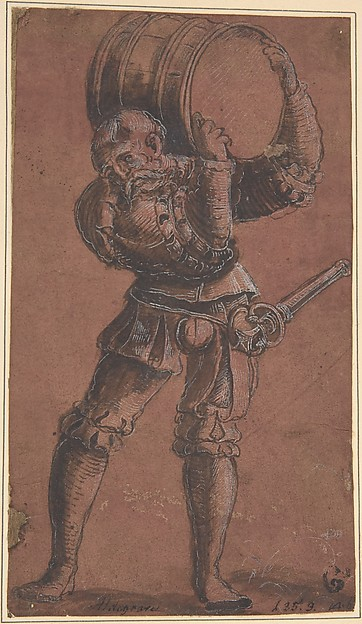 Landsknecht Carrying a Barrel