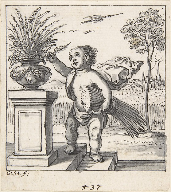 Design for an Emblem with a Child Picking Flowers