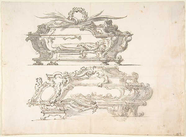 Designs for Two Reliquary Caskets; at top Bishop; at bottom: Skulls and Bones