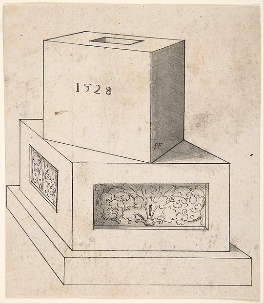 Perspectival Drawing of a Column Base with Cube
