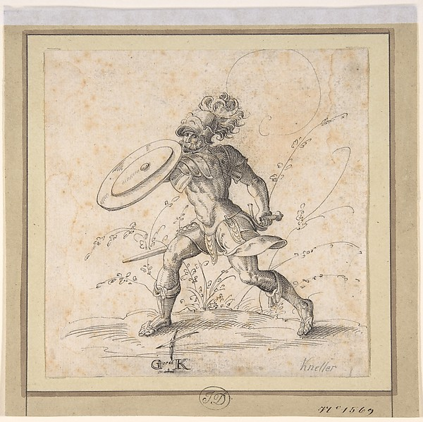 A Soldier Brandishing a Shield in a Landscape