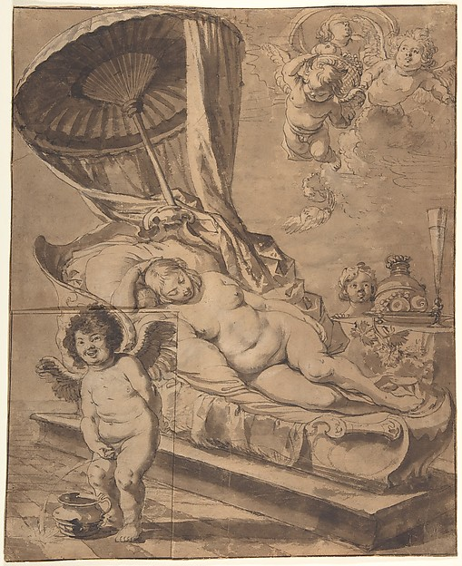 Venus and Cupid (r); Studies of a Woman (v.)
