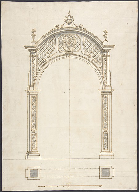 Fascinating Historical Picture of German with Plan and elevation of a roccoco arch in 1710