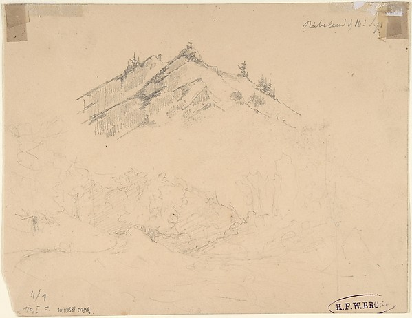 The Bode Valley with Rocks and Trees; verso: Landscape Studies