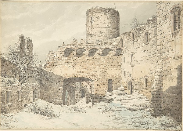 Winter View of the Courtyard of a Medieval Castle in Ruins