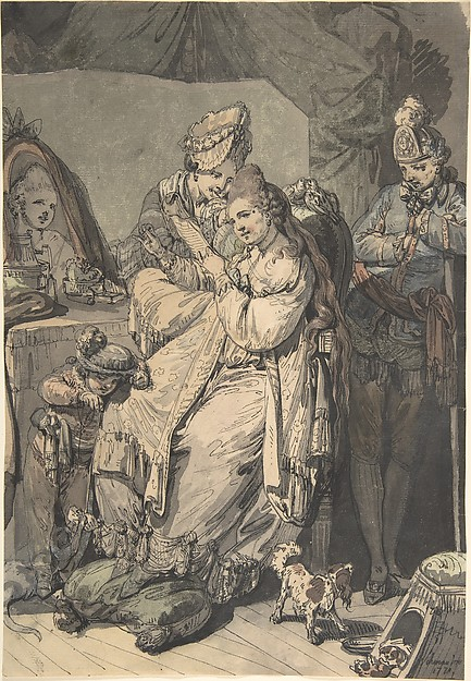 This is What Johann Eleazar Zeissig called Schenau and A Woman at her Toilet with a Maid a Boy a Dog and a Young Soldier; verso| A Sketch for a Similar C Looked Like  in 1770