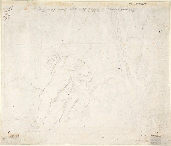 The Martyrdom of the seven brothers; verso: Sketch of two men wrestling (?)