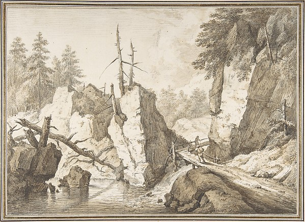 Fascinating Historical Picture of Franz Schtz with Swiss mountain landscape with small bridge spanning a brook in 1751
