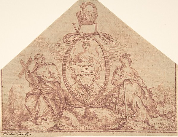 Fascinating Historical Picture of Martin Tyroff with Design for a Frontispiece with Figures of Faith and Hope in 1704