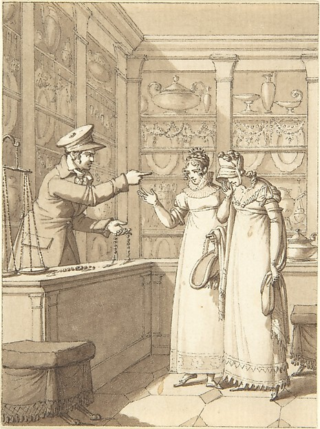 Design for a Book Illustration: Two Women in a Pawn Shop