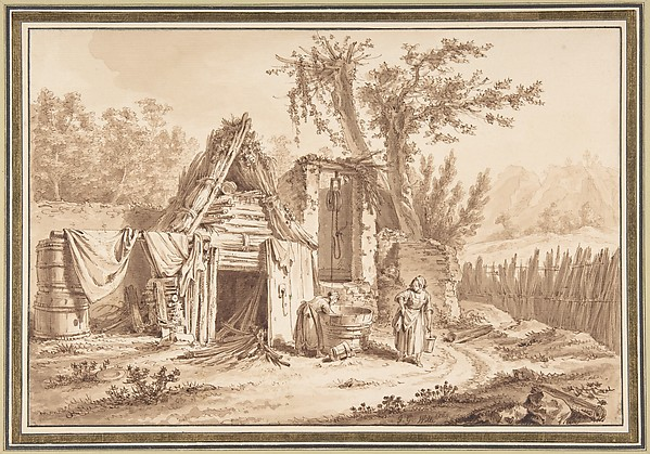 Washerwomen in Front of a Cottage
