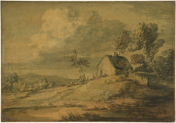 Wooded Landscape with Cottage, Cows and Sheep