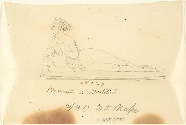 """Sketch of Statue: """"Bacchante by Bartolini"""""""