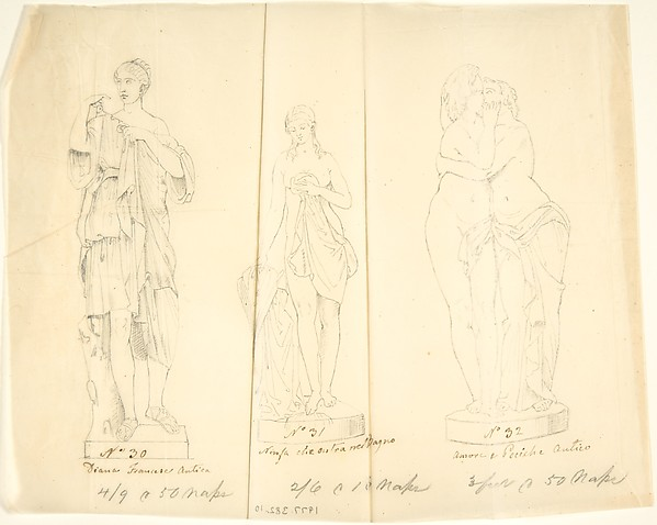"Sketches of Three Statues: ""Diana Francesa Antica,"" ""Nymph entering a bath,"" and ""Cupid and Pysche"""