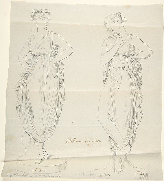 "Sketch of Two Statues: ""Ballerinas by Canova"""
