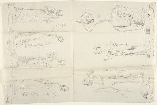 """Sketches of Seven Statues: """"The Four Seasons,"""" """"Venus and Adonis,"""" """"A Beggar,"""" and """"The Nymph Salmace"""""""