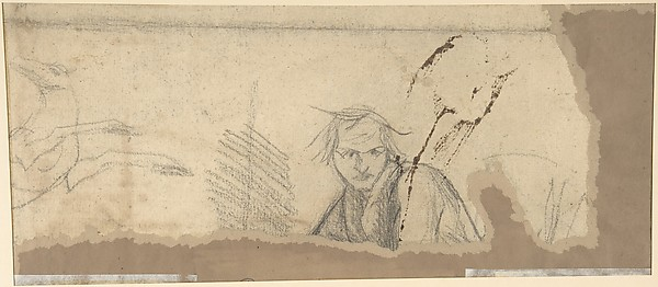 Study for the Prophet Jeremiah (recto); Studies of a Horse Seen from Below and of a Man Seated on a Chair, Probably a Self-Portrait and an Off-Print in Brown Ink of a Nude Female Abdomen and Legs (verso)