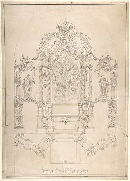 Fascinating Historical Picture of Johann Baptist Modler with Design for an Alter with Saint Michael and the Dragon in 1715