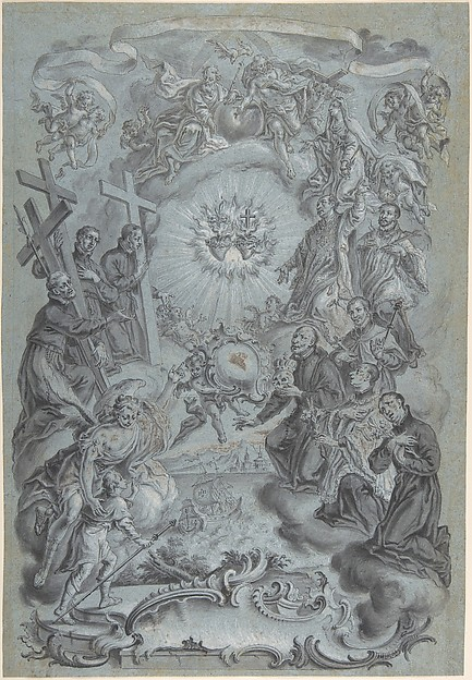 A Study for a Frontispiece: The Trinity and Saints surrounding the Sacred Hearts of Christ and the Virgin Mary, a Coastal Landscape Below