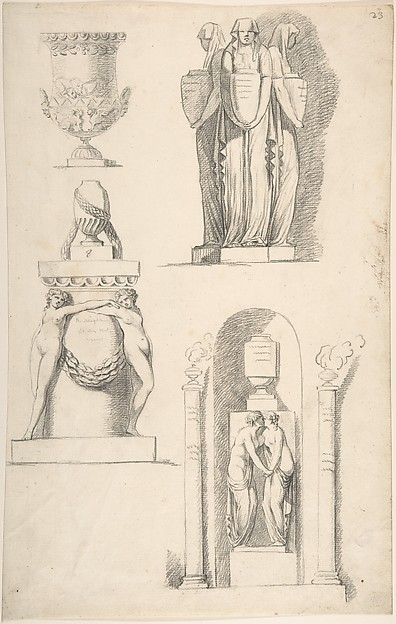 A Vase and Classical Monuments Carved with Hooded Women Carrying Urns, Two Females Embracing Beneath a Vase and Two Nude Female Figures Supporting a Vase