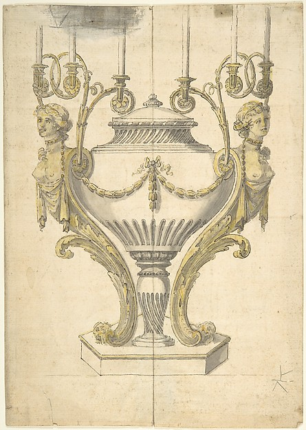 Fascinating Historical Picture of Henry Holland with Candelabrum in the form of an Urn Clasped by Carytides and Candle Branches in 1760