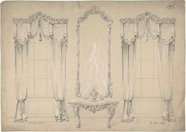 Design for Wall with Two Windows, Side Table, and Mirror